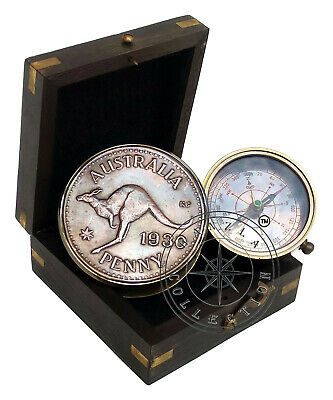 Australia PENNY Antique Brass Compass Nautical Marine Pocket Gift With Wood Box