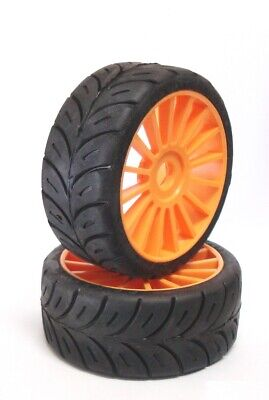 "SP Tire Gomme 1/8 GT Old Production glued on BLACK rims ""R2"" (2 pairs=4 tires)"
