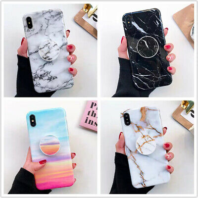 Marble Phone Case Cover Samsung Galaxy iPhone 6s 7 8 Plus XS MAX XR Stand Holder