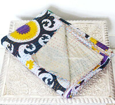 Bedspread Cotton Indian Hand-made Twin Vintage Suzani Kantha Blanket Quilt Throw