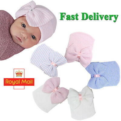 Hospital Newborn Baby Boy Girl Infant Striped Hat Beanie Hat Soft Cap with Bow