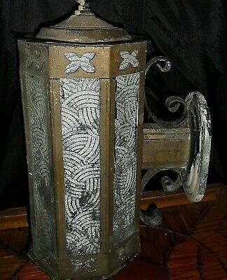 """antique Brass Entrance Lamp - Wall mounted Big 15"""" x 6"""" Gothic foils c1890-1920"""