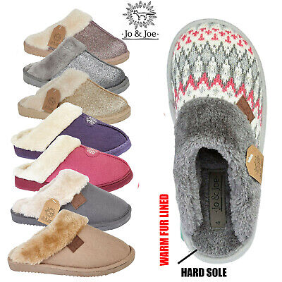 Ladies Knitted Mule Cosy Warm Slip On Womens Fur Lined Slippers Size 3 4 5 6 7 8