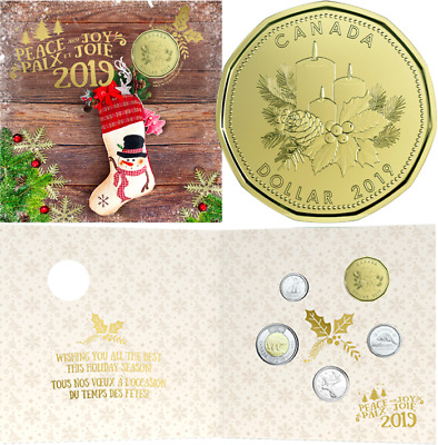 2019 Holiday Gift 5-Coins Set Canada: $2, $1 Dollar, 25cent, 10cent & 5cent