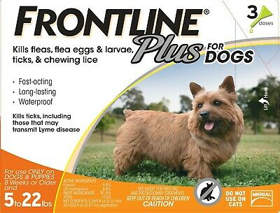 Frontline Plus 3 Pack Months Supply For Dogs 5-22lbs 2.5-10KG ORANGE