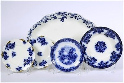 Minton and 2 Waldorf Semi-Porcelain 5 Antiques Blue and White Serving Pieces