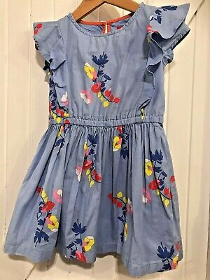 Girls Joules 4 Years Dress Flower print Blue ully lined frill detail pretty