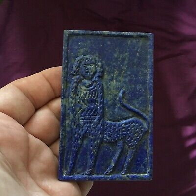 Ancient Near Eastern Lapis Lazuli Carved Relief Panel With Man Beast