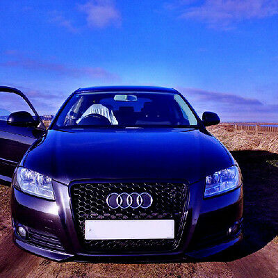 Black honeycomb mesh grill compatible with Audi A3 8P3 2008-2013 S3 RS3