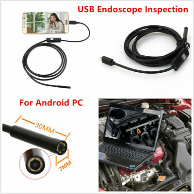7mm USB Endoscope Inspection Camera Borescope Waterproof 6LED For Android PC&