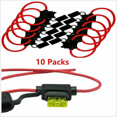 10 Pack For Blade Fuses ATC / ATO 16 Gauge 25 AMP In-Line Fuse Holder Red Wire &