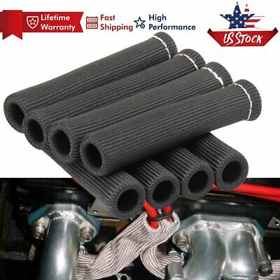 8x 6 inch  2500 Degree SPARK PLUG WIRE BOOTS HEAT SHIELD PROTECTOR SLEEVE Black