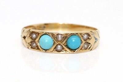 A Stunning Antique Victorian 18ct 750 Yellow Gold Turquoise &Pearl Band Ring