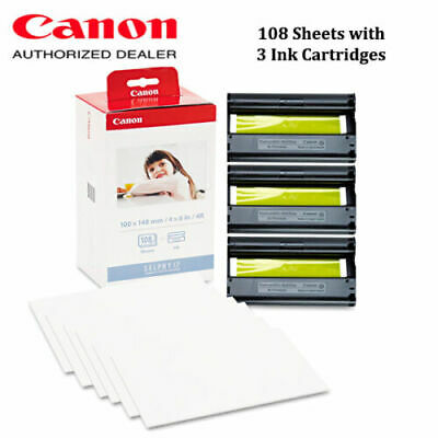 Canon KP-108IN Selphy CP1300 Color Ink Paper Set 108 4x6 Sheets with 3 Toners