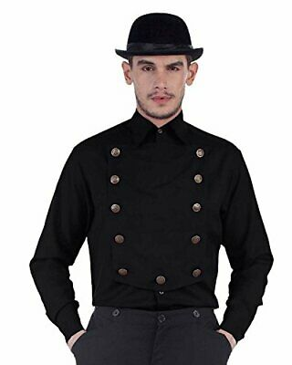 Men/'s Pirate Victorian Steampunk Poet White Lace Up Shirt Halloween Costume