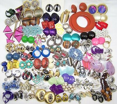 HUGE Lot of Vintage Earrings 60's 70's 80's VARIETY Dangles Clusters Buttons +++