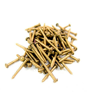 "Brass Slotted Round Head Wood Screws  #5 x 1"" (100 Pcs)"