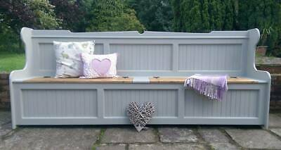 Hand Crafted Solid Pine 8Ft Monks Bench Settle Storage Bench Any F&B Colour