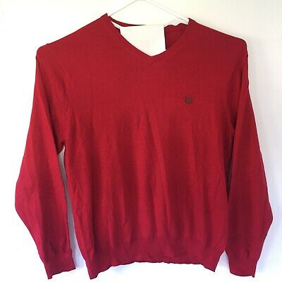Chaps Mens Large Cotton Cashmere V-neck SWEATER Red Holiday Soft Classic Office