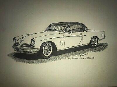 1953 53 Studebaker Commander Starliner Line Drawing