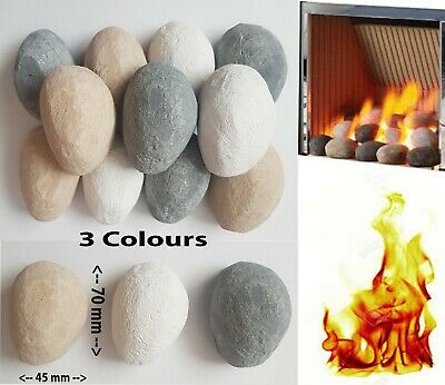 Replacement Pebbles Gas fire pebbles coals White/Grey/Beige New Real flame fires