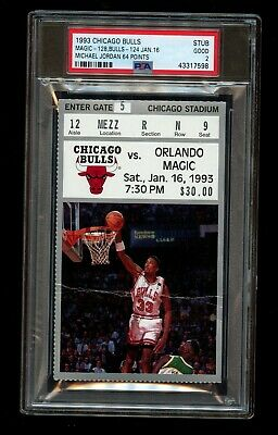 1993 Chicago Bulls vs Magic Ticket Stub Michael Jordan 64 Points PSA 2