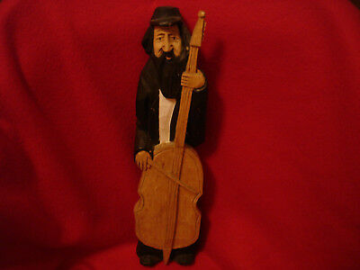 Wooden Hand Carved Man Playing a Cello Base Musical Instrument Figurine