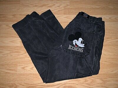 Vtg 90s Men's Iceberg Mickey Mouse Disney Denim Jeans Baggy Fit Size 36 A12