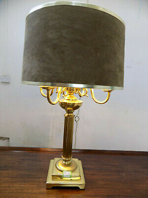 large,brass,4 branch,office lamp,table lamp,library,table,lamp,light,round shade