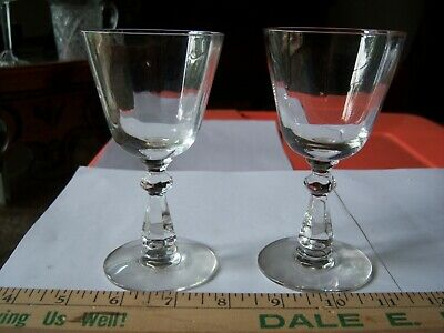Antique Clear Crystal Glass Paneled Wine Stemware Early 1900's Pr Free Shipping