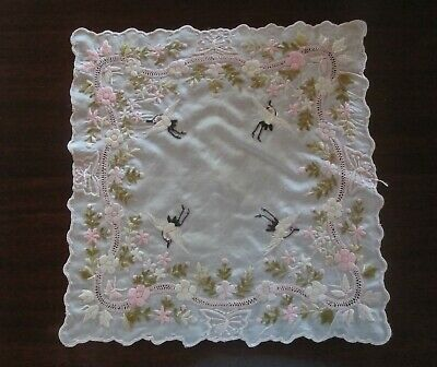 Antique Chinese Japanese Asian Silk Embroidered Handkerchief Flying Craes Euc