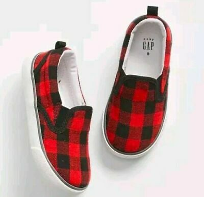 7 8 BABY GAP KIDS Red Black Buffalo Plaid Sneakers Shoes Boy New Toddler NWT