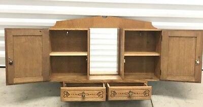 Antique French Art Deco 1920's  Hanging Cabinet with Mirror Hand Carved