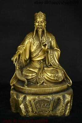 Collect China Temple Copper Brass Huang Daxian God Taoist priest Immortal Statue