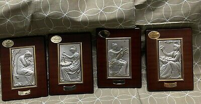 Four Seasoned Silver Framed Plaques  Made In Italy