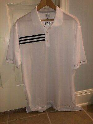 Adidas Mens Climacool Golf Sport Polo Shirt White Medium Three Stripes Classic