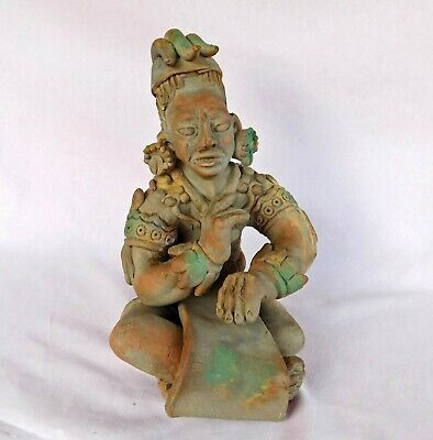 Maya Shaman Art, Ceramic Sitting Priest Authentic Pre-Columbian Art Reproduction