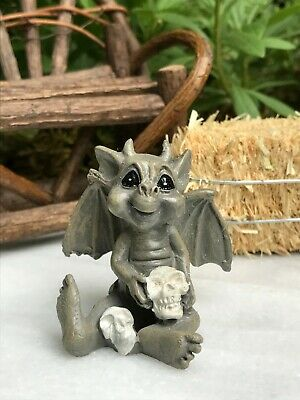 Miniature Dollhouse FAIRY GARDEN ~ Mini HALLOWEEN Baby Gargoyle with Skulls
