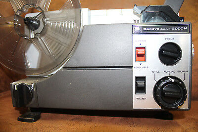 SUPER 8 and STANDARD 8mm SANKYO 2000H  DUAL 8mm SILENT MOVIE PROJECTOR 100w Lamp