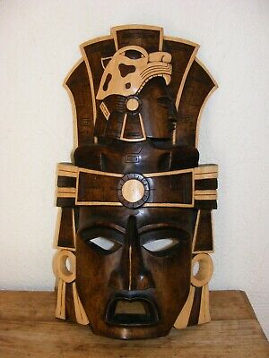 LARGE HAND CARVED WOODEN DECORATIVE MASK MEXICAN? 53cm x 30CM FREE STANDING ORNA