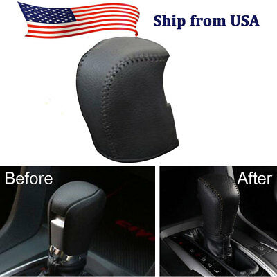 1x Black leather Holster Car Gear Shift Knob Cover Trim For Toyota Camry 2018