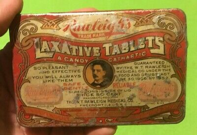 Vintage ~ Advertising Tin ~ Rawleighs ~ Laxative Tablets ~ Candy Cathartic  #155