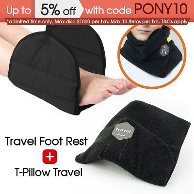 Portable Sitting Nap T-Pillow Travel Pillow Neck Support + Footrest Leg Pillow