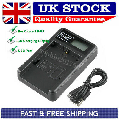 Battery Charger For Canon LP-E6 EOS 7D 70D 6D 60D 5D Mark III 5D Mark II 5DS R