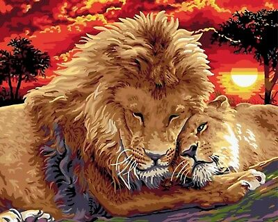 "SUNSET LIONS PAINTING PAINT BY NUMBERS CANVAS KIT 20"" x 16"" FRAMELESS"