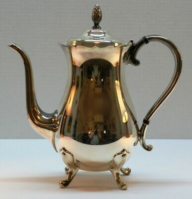 Gorham G Newport Silverplate Coffee Pot  YB401 Footed with Hinged Lid Pre-Owned