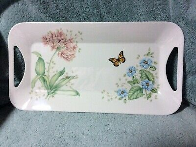"""Lenox Butterfly Meadow Melamine Hors D'Oeuvre Tray 15.25"""" New"""