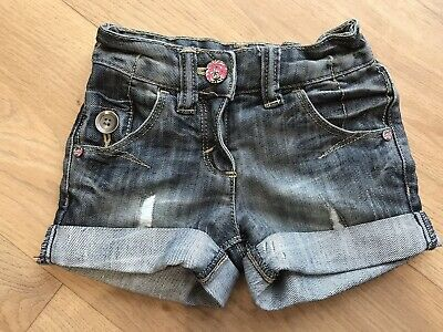 NEXT GIRLS BLUE DENIM DISTRESSED SHORTS AGE 3 YEARS Excellent Condition