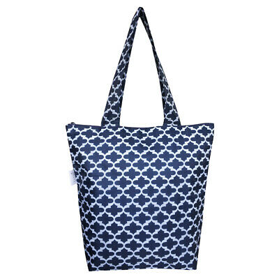 NEW Sachi Insulated Folding Market Tote Bag Moroccan Navy