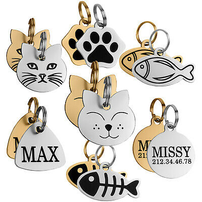Cat Name Tag Engraved ID Tag for Cats Kitten Puppy Personalised Small Tags
